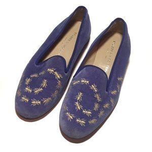 STUBBS & WOOTTON Purple Gold Ant Loafers